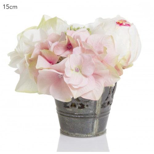 Petite Hydrangea and Rose Floral Arrangement
