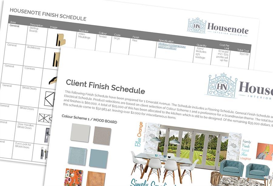Housenote Finish Schedule