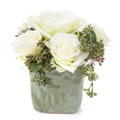 Roses in Ceramic Pot